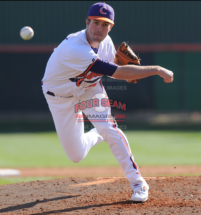 Clemson pitcher Clinton McKinney (8) in a game between the Clemson Tigers and USC Gamecocks on March 2, 2008, at Doug Kingsmore Stadium in Clemson. Photo by: Tom Priddy/Four Seam Images