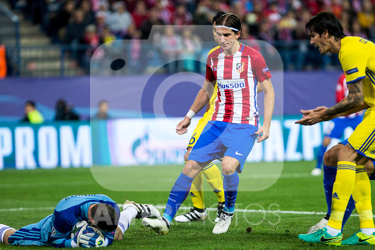 FC Rostov's Soslan Dzhanaev Atletico de Madrid's Filipe Luis  during the match of UEFA Champions League between Atletico de Madrid and FC Rostov, at Vicente Calderon Stadium,  Madrid, Spain. November 01, 2016. (ALTERPHOTOS/Rodrigo Jimenez)
