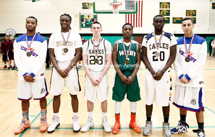 Waterbury, CT- 03 March 2014-030314CM20-  All-NVL, left to right:  Tyshon Rogers, Crosby; Mustapha Heron, Sacred Heart; Tanner Kingsley, Woodland; Taifa Wright, Wilby; Don Jarrett, Kennedy and Lex Perez, Crosby.   Christopher Massa Republican-American