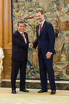 King Felipe VI of Spain receive the president of the republic of Per&uacute;, Sr. Ollanta Humala Tasso, y Sra. Nadine Heredia Alarc&oacute;n at Zarzuela Palace in Madrid, Spain. July 07, 2015.<br />  (ALTERPHOTOS/BorjaB.Hojas)