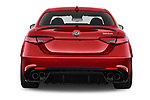 Straight rear view of 2018 Alfa Romeo Giulia Quadrifoglio Base 4 Door Sedan stock images