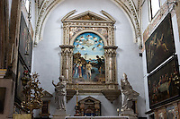 "Interno della chiesa di San Giovanni in Bragora a Venezia. Sullo sfondo, ""Il battesimo di Cristo"" dipinto da Cima da Conegliano<br /> Interior of the church of San Giovanni in Bragora, in Venice.<br /> At background the ""Christ's Baptism"" painting by Cima da Conegliano.<br /> UPDATE IMAGES PRESS/Riccardo De Luca"