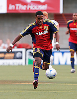 Real Salt Lake FW Robbie Findley dribbles the ball in the Real Salt Lake 2-1 win over New England Revolution on June 21, 2008 at Rice-Eccles Stadium in Salt Lake City, Utah.