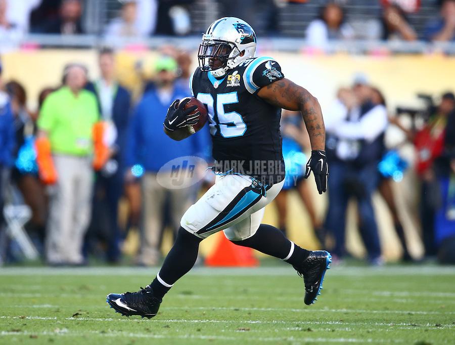 Feb 7, 2016; Santa Clara, CA, USA; Carolina Panthers fullback Mike Tolbert (35) against the Denver Broncos during Super Bowl 50 at Levi's Stadium. Mandatory Credit: Mark J. Rebilas-USA TODAY Sports