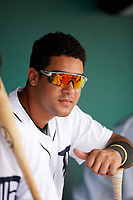 Detroit Tigers Gresuan Silverio (27) in the dugout during an Instructional League game against the Toronto Blue Jays on October 12, 2017 at Joker Marchant Stadium in Lakeland, Florida.  (Mike Janes/Four Seam Images)