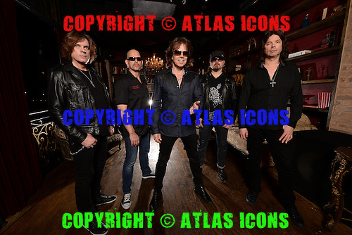 FORT LAUDERDALE FL - FEBRUARY 02: Ian Haugland, John Leven, Joey Tempest, Mic Michael and John Norum of Europe pose for a portrait at Revolution on February 2, 2016 in Fort Lauderdale, Florida. Photo by Larry Marano © 2016