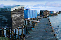 An assortment of makeshift sheds punctuate the rickety jetty which encloses the small fishing port of Carrasqueira