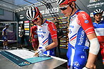 Thibaut Pinot (FRA) Groupama-FDJ at sign on before the start of Stage 5 of the Race of the Two Seas, the 54th Tirreno-Adriatico 2019, running 180km from Colli al Matauro to Recanati, Italy. 17th March 2019.<br /> Picture: LaPresse/Gian Mattia D'Alberto | Cyclefile<br /> <br /> <br /> All photos usage must carry mandatory copyright credit (© Cyclefile | LaPresse/Gian Mattia D'Alberto)