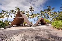 Halau canoe shelters in Pu'uhonua o Honaunau place of refuge national historical park, Big Island, Hawaii