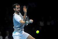 Marin Cilic in action against John Isner<br /> Photographer Hannah Fountain/CameraSport<br /> <br /> International Tennis - Nitto ATP World Tour Finals Day 4 - O2 Arena - London - Wednesday 14th November 2018<br /> <br /> World Copyright © 2018 CameraSport. All rights reserved. 43 Linden Ave. Countesthorpe. Leicester. England. LE8 5PG - Tel: +44 (0) 116 277 4147 - admin@camerasport.com - www.camerasport.com