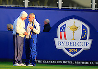 Captain Paul McGinley and Vice Captain Sam Torrence (EUR) confer on the 1st tee to during Saturday Mornings Fourball Matches  of the Ryder Cup 2014 played on the PGA Centenary Course at the Gleneagles Hotel, Auchterarder, Scotland.: Picture Eoin Clarke www.golffile.ie: 27th September 2014