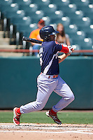 Reading Fightin Phils second baseman KC Serna (5) at bat during a game against the Bowie Baysox on July 22, 2015 at Prince George's Stadium in Bowie, Maryland.  Bowie defeated Reading 6-4.  (Mike Janes/Four Seam Images)