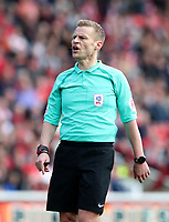 Referee Michael Jones <br /> <br /> Photographer Rachel Holborn/CameraSport<br /> <br /> The EFL Sky Bet Championship - Barnsley v Bolton Wanderers - Saturday 14th April 2018 - Oakwell - Barnsley<br /> <br /> World Copyright &copy; 2018 CameraSport. All rights reserved. 43 Linden Ave. Countesthorpe. Leicester. England. LE8 5PG - Tel: +44 (0) 116 277 4147 - admin@camerasport.com - www.camerasport.com
