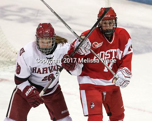 Abbey Frazer (Harvard - 28), Maddie Elia (BU - 14) - The Harvard University Crimson tied the Boston University Terriers 6-6 on Monday, February 7, 2017, in the Beanpot consolation game at Matthews Arena in Boston, Massachusetts.