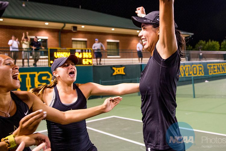 19 MAY 2015:  Astra Sharma of Vanderbilt celebrates winning the Division I Women's Tennis Championship at the Hurd Tennis Center on the Baylor University campus in Waco, TX.  Vanderbilt defeated UCLA 4-2 to win the team national title.  Darren Carroll/NCAA Photos to win the team national title.  Darren Carroll/NCAA Photos