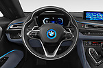 Car pictures of steering wheel view of a 2019 BMW i8 Base 2 Door Convertible