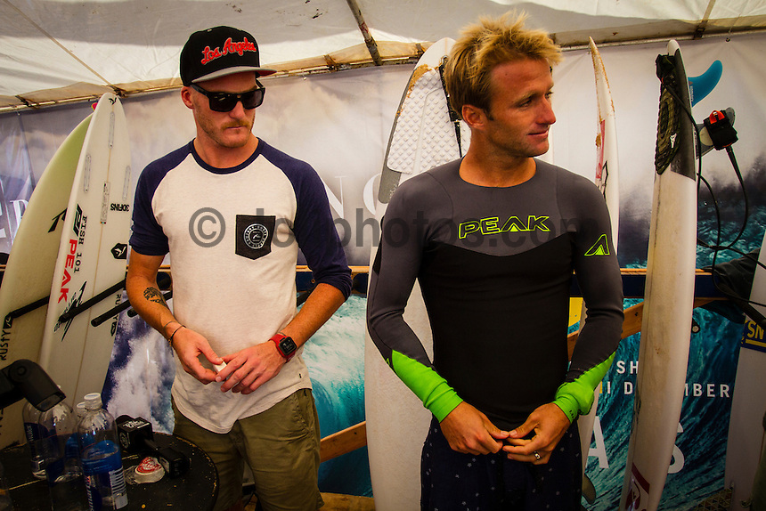 HONOLULU, Oahu, Banzai Pipeline - (Friday, December 14, 2012)  Josh Kerr (AUS) with Ryan Bautista (AUS) getting ready for the semi final. -- The Billabong Pipe Masters wrapped up today with the crowning of the 2012 World Title going to Joel Parkinson (AUS) after Josh Kerr (AUS) defeated Kelly Slater (USA) in the second semi final..Photo: joliphotos.com