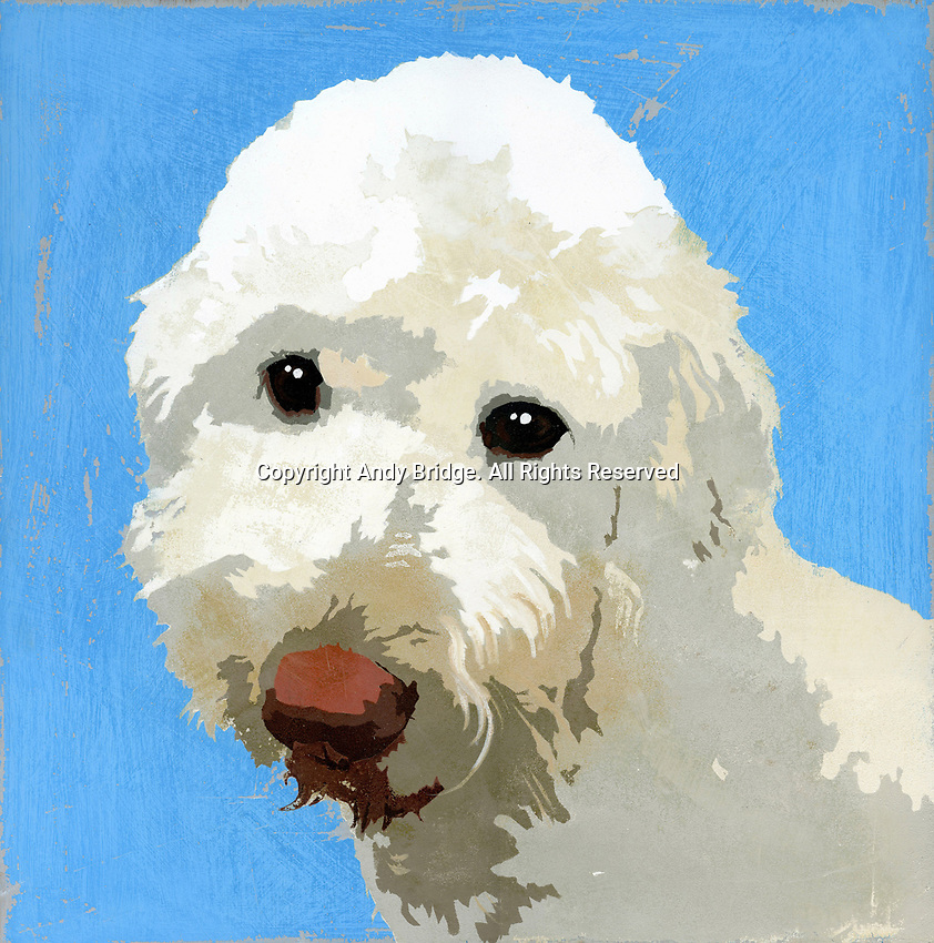 Painting of Labradoodle dog