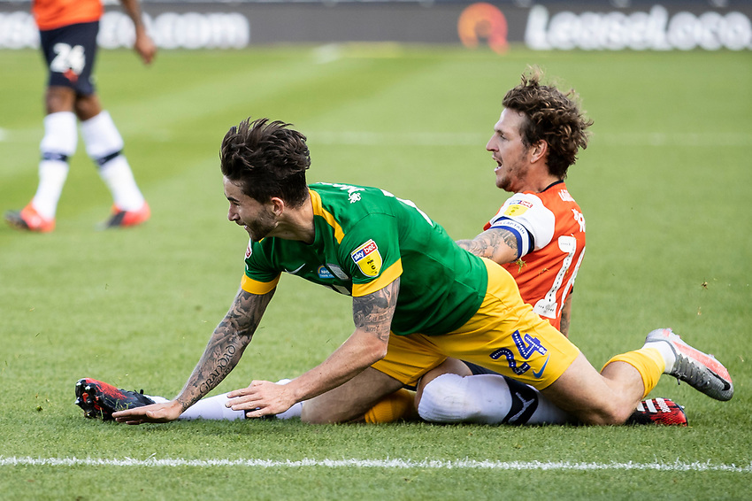 Preston North End's Sean Maguire is fouled by Luton Town's Glen Rea (right) <br /> <br /> Photographer Andrew Kearns/CameraSport<br /> <br /> The EFL Sky Bet Championship - Luton Town v Preston North End - Saturday 20th June 2020 - Kenilworth Road - Luton<br /> <br /> World Copyright © 2020 CameraSport. All rights reserved. 43 Linden Ave. Countesthorpe. Leicester. England. LE8 5PG - Tel: +44 (0) 116 277 4147 - admin@camerasport.com - www.camerasport.com