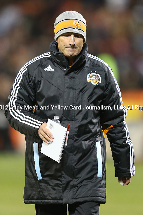 18 November 2012: Houston head coach Dominic Kinnear (SCO). DC United played the Houston Dynamo at RFK Stadium in Washington, DC in the second leg of their 2012 MLS Cup Playoffs Eastern Conference Final series. The game ended in a 1-1 tie, Houston won the series 4-2 on aggregate goals.
