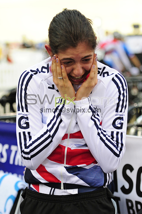PICTURE BY ALEX BROADWAY/SWPIX.COM - Cycling - 2013 UCI Juniors Track World Championships - Day 2 - Sir Chris Hoy Velodrome, Glasgow, Scotland - 08/08/13 - Dannielle Khan of Great Britain reacts as she realises she has won the Women's 500m Time Trial final.