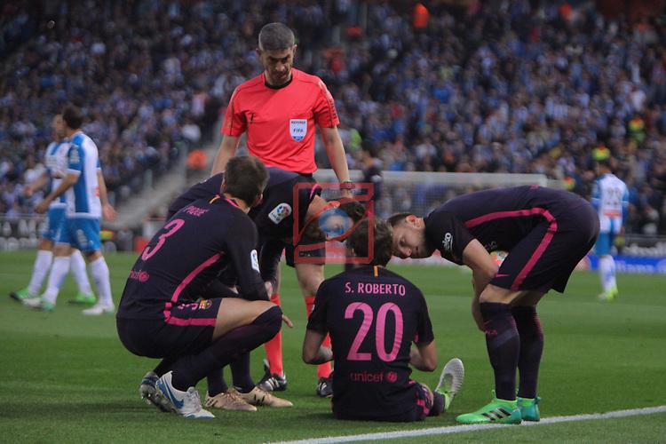 League Santander 2016/2017. Game: 35.<br /> RCD Espanyol vs FC Barcelona: 0-3.<br /> Undiano Mallenco, Lionel Messi, , Gerard Pique, Sergi Roberto &amp; Ivan Rakitic.