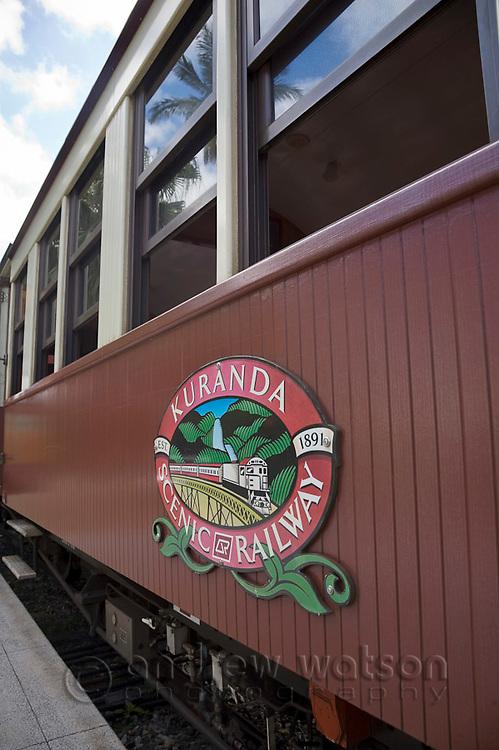 Kuranda Scenic Railway train at Kuranda Station.  Kuranda, Cairns, Queensland, Australia