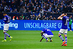 16.03.2019, VELTINS Arena, Gelsenkirchen, Deutschland, GER, 1. FBL, FC Schalke 04 vs. RB Leipzig<br /> <br /> DFL REGULATIONS PROHIBIT ANY USE OF PHOTOGRAPHS AS IMAGE SEQUENCES AND/OR QUASI-VIDEO.<br /> <br /> im Bild Weston McKennie (#2 Schalke), Salif Sane (#26 Schalke), Benjamin Stambouli (#17 Schalke) enttäuscht / enttaeuscht / traurig nach Niederlage<br /> <br /> Foto © nordphoto / Kurth