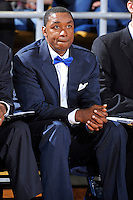 25 February 2012:  FIU Head Coach Isiah Thomas watches his players during the first half as the FIU Golden Panthers defeated the University of South Alabama Jaguars, 81-74, at the U.S. Century Bank Arena in Miami, Florida.