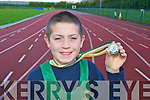 Castleisland runner Adam Donoghue An Riocht who won the silver medal at the u11All Ireland cross-country championships in Coleraine on Sunday, Adam whose been running with An Riocht since 2006 has been under a intense training programme set by his trainer Denny McSweeney for the past month was delighted when his hard work paid off by clenching second place where he finished a couple of meters behind Ulster's Denver Kelly and ahead of Luke Fitzgerald Leinster who just pipped Gneeveguilla's Patrick Warren