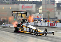 Oct. 31, 2008; Las Vegas, NV, USA: NHRA top fuel dragster driver Tony Schumacher races during qualifying for the Las Vegas Nationals at The Strip in Las Vegas. Mandatory Credit: Mark J. Rebilas-