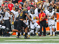 College Park, MD - September 9, 2017: Towson Tigers running back Shane Simpson (13) tries to avoid the tackle during game between Towson and Maryland at  Capital One Field at Maryland Stadium in College Park, MD.  (Photo by Elliott Brown/Media Images International)