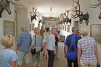 Museumsführerin Andrea Rohrmann (M. rosa) zeigt der Gruppe der Leser-Radtour den großen Hirschgang des Jagdschloss Kranichstein