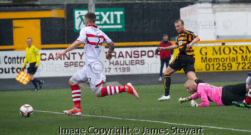 "Alloa""s Greig Spence scores their first goal."