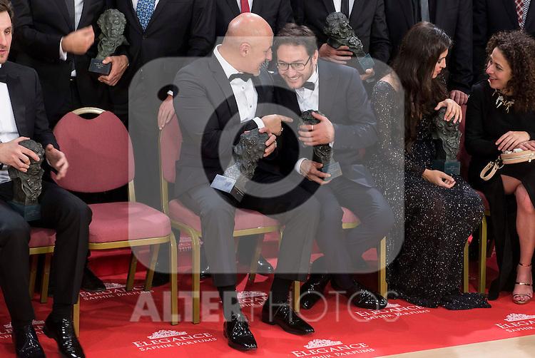 Roberto Alamo and Carlos Santos talking before the photo family for the media at Madrid Marriott Auditorium Hotel in Madrid, Spain. February 04, 2017. (ALTERPHOTOS/BorjaB.Hojas)