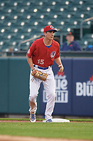 Buffalo Bisons first baseman Jordan Patterson (15) during an International League game against the Scranton/Wilkes-Barre RailRiders on June 5, 2019 at Sahlen Field in Buffalo, New York.  Scranton defeated Buffalo 4-0, the second game of a doubleheader. (Mike Janes/Four Seam Images)