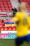 Doncaster Rovers Belles 1 Chelsea Ladies 4, 20/03/2016. Keepmoat Stadium, Womens FA Cup. A lone spectator with a Doncaster Belles flag. Photo by Paul Thompson.