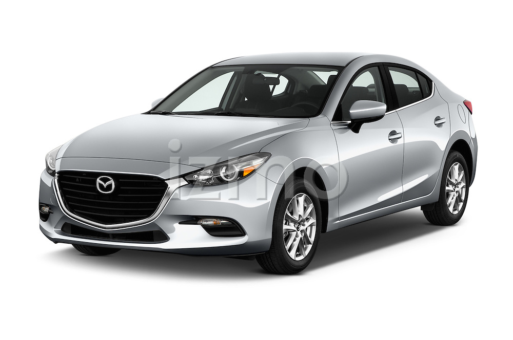 2017 Mazda Mazda3 Sport 4 Door Sedan Angular Front stock photos of front three quarter view