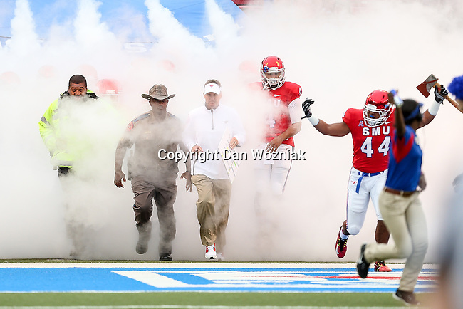 Southern Methodist Mustangs linebacker Jackson Mitchell (44) in action during the game between the Tulsa Golden Hurricanes and the SMU Mustangs at the Gerald J. Ford Stadium in Dallas, Texas.