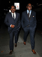 guest and Ainsley Harriott at the Legends of Football 23rd annual football awards gala 2018, Grosvenor House Hotel, Park Lane, London, England, UK, on Monday 08 October 2018.<br /> CAP/CAN<br /> ©CAN/Capital Pictures