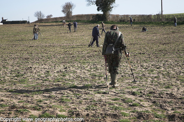 Group metal detecting event, Lower Hacheston, Suffolk, England