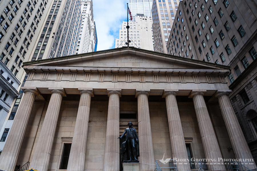 US, New York City. Federal Hall National Monument on Wall Street.