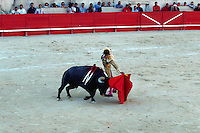 Manuel Cabrello fighting a bull, Nimes, France