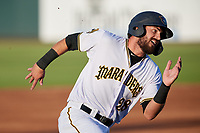 Bradenton Marauders Dylan Busby (28) running the bases during a Florida State League game against the Fort Myers Miracle on April 23, 2019 at LECOM Park in Bradenton, Florida.  Fort Myers defeated Bradenton 2-1.  (Mike Janes/Four Seam Images)