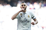 Karim Benzema of Real Madrid celebrates after scoring a goal during the match of  La Liga between Real Madrid and Deportivo Alaves at Bernabeu Stadium Stadium  in Madrid, Spain. April 02, 2017. (ALTERPHOTOS / Rodrigo Jimenez)
