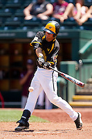 Josh Halbert (9) of the Wichita State Shockers swings at a pitch during a game against the Missouri State Bears in the 2012 Missouri Valley Conference Championship Tournament at Hammons Field on May 23, 2012 in Springfield, Missouri. (David Welker/Four Seam Images)