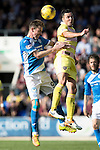 St Johnstone v Hearts&hellip;17.09.16.. McDiarmid Park  SPFL<br />Steven MacLean and Don Cowie<br />Picture by Graeme Hart.<br />Copyright Perthshire Picture Agency<br />Tel: 01738 623350  Mobile: 07990 594431