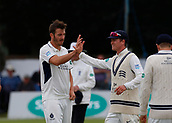 June 12th 2017, Trafalgar Road Ground, Southport, England; Specsavers County Championship Division One Day Four; Lancashire versus Middlesex; Toby Roland-Jones (left) is congratulated after dismissing Liam Livingstone, caught by Middlesex keeper John Simpson for22; Middlesex were all out this morning and set Lancashire a target of 108 to win the match