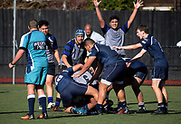 Action from the Auckland under-20s club rugby match between College Rifles (navy) and Ponsonby Blue (navy and grey) at College Rifles Park in Auckland, New Zealand on Saturday, 8 July 2017. Photo: Dave Lintott / lintottphoto.co.nz