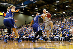 BROOKINGS, SD - NOVEMBER 18:  Mariah Clarin #40 from South Dakota State University is fouled while driving to the basket by Alexis Akin-Otiko #45 from Creighton in the first half of their game Tuesday night at Frost Arena in Brookings. (Photo by Dave Eggen/Inertia)